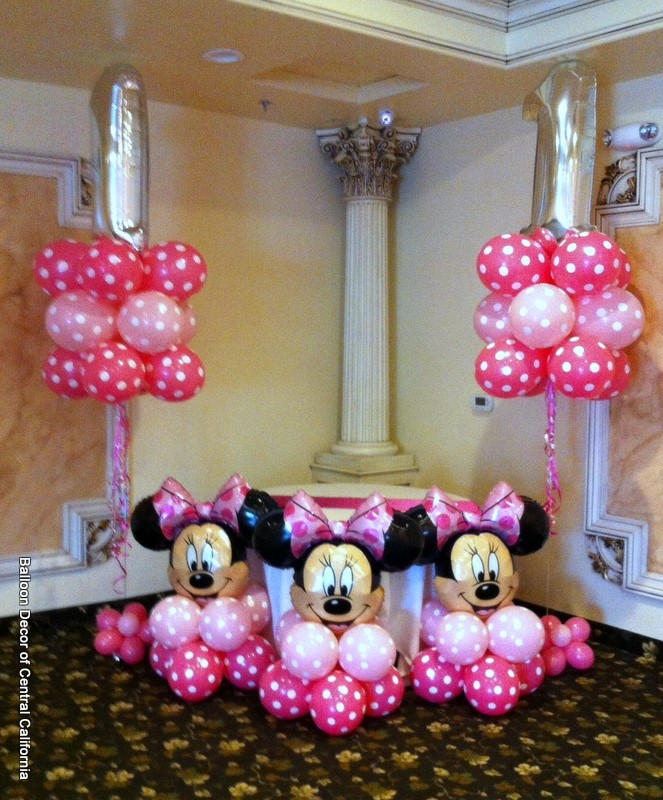 Balloon decor of central california party for Balloon decoration minnie mouse